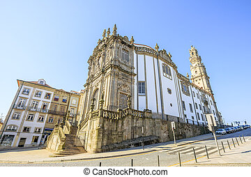 Church of Clerigos Porto - Side view of majestic baroque...