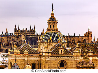 Church of El Salvador, Iglesia de El Salvador, Dome with Cross, Seville Andalusia Spain Under Stormy Skies. Built in the 1700s. Second largest church in Seville.