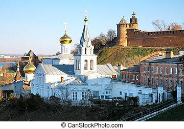 Church of Elijah the Prophet on Nizhny Novgorod Kremlin background, Russia