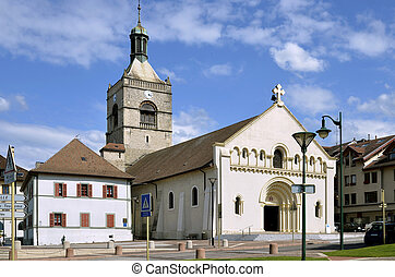 Church l'Assomption of Evian-les-Bains on the banks of L?man lake to the east of France, commune in the Haute-Savoie department in the Rh?ne-Alpes region