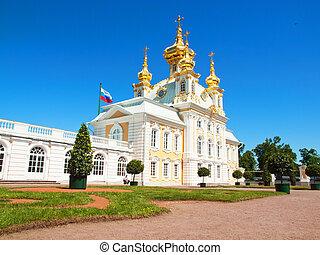 Church of grand palace in Peterhof, Russia