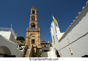 church of Lindos, town in the Rhodes island, Greece