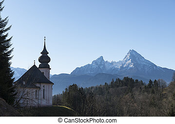 Church of Maria Gern and mountain Watzmann - Beautiful...