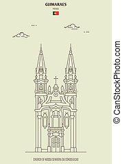Church of Nossa Senhora da Consolacao in Guimaraes, Portugal. Landmark icon in linear style