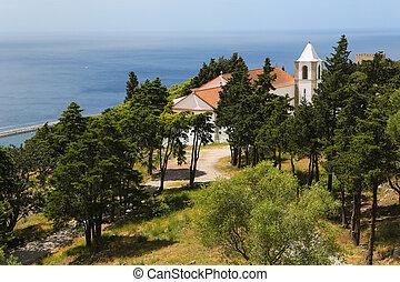 Church of Nossa Senhora do Castelo near the Moorish castle in Sesimbra, Portugal