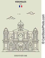 Church of Notre-Dame in Versailles, France. Landmark icon in linear style