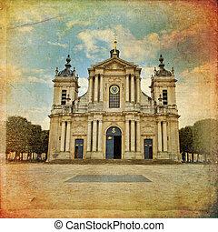 Church of Notre-Dame in Versailles in vintage style, Paris, Fran