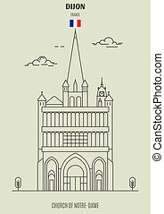 Church of Notre-Dame of Dijon, France. Landmark icon in linear style