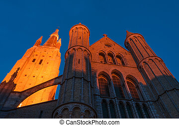 Church of Our Lady at night - Church of Our Lady, the...