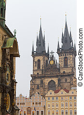 Church of Our Lady before Tyn and Astronomical Clock, Prague, Czech Republic