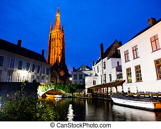 Church of Our Lady in Bruges at night - Church of Our Lady...