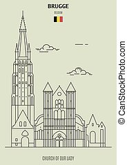 Church of Our Lady in Brugge, Belgium. Landmark icon in linear style