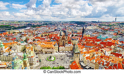 Church of Our Lady(Staromestske namesti) on historic square in the Old Town quarter of Prague. It is located between Wenceslas Square and the Charles Bridge. Czech Republic.