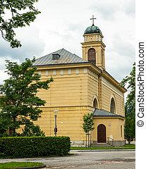 Church of Reichenau on a cloudy day in summer