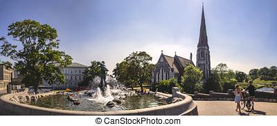 Church of Saint Alban and fountain in Copenhagen, Denmark
