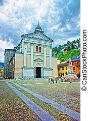 Locarno, Switzerland - August 25, 2013: Church of Saint Antonio Abate in the city center of luxurious resort Locarno of Ticino canton, Switzerland.