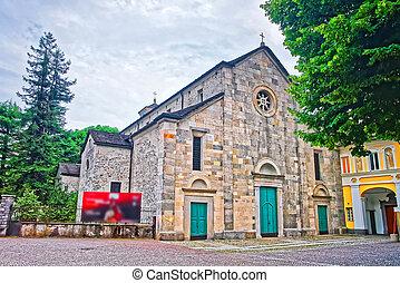 Church of Saint Francesco in the city center of luxurious resort Locarno of Ticino canton, Switzerland.