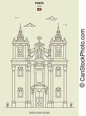 Church of Saint Ildefonso in Porto, Portugal. Landmark icon in linear style