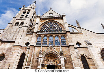 Church of Saint-Severin in Paris - facade of medieval Church...