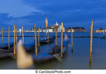 Church of San Giorgio Maggiore at night in Venice, Italy.