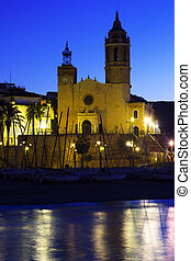 Church of Sant Bartomeu  in early morning. Sitges