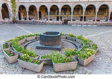 """Church of Santo Domingo, Coricancha,Cusco, Peru,South America. Build on ruins of  Incan Temple of the Sun.The """"Santo Domingo"""""""