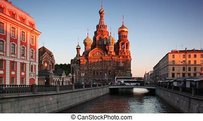 Church of Savior on Spilled Blood at channel St. Petersburg...
