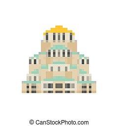 Church Of St. Alexander Nevsky pixel art. Sofia landmark 8...