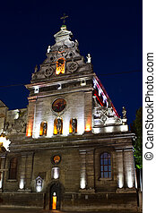 Church of St. Andrew and crucified of the Bernardine monastery in Lviv, in the light of lanterns at night