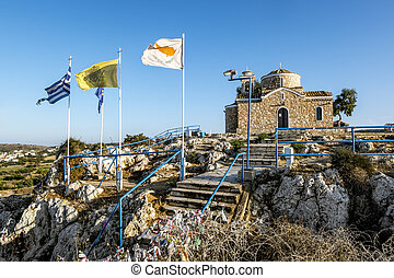 Church of St. Elias on a rock in Protaras . Cyprus.