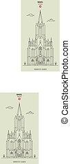 Church of St. Elizabeth in Basel, Switzerland. Landmark icon