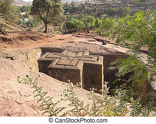 Church of St. George carved out of rock in the shape of a cross. Lilibela, Ethiopia, Africa