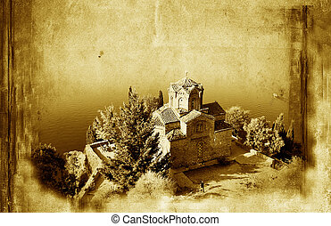 Church of St. John at Kaneo, and old paper grunge background