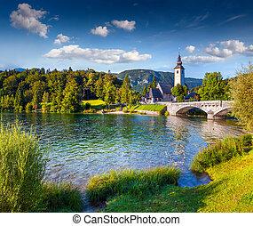 Church of St John the Baptist, Bohinj Lake, Triglav National Park, Julian Alps, Slovenia