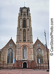 Gothic style Church of St Lawrence (Dutch: Grote of St Laurenskerk), city landmark and the oldest building in Rotterdam, Holland, Netherlands.
