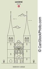 Church of St. Leodegar in Lucerne, Switzerland. Landmark icon
