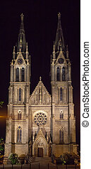 Church of St. Ludmila in Prague at night