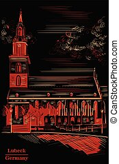 Church of St. Mary in Berlin, black and red - Church of St. ...