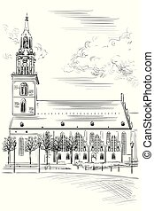 Church of St. Mary in Berlin (Lubeck), Germany. Landmark of Berlin. Vector hand drawing illustration in black color isolated on white background.