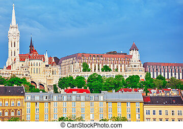 Church of St. Matthias and Fisherman's Bastion from the shore of the Danube. Budapest. Hungary