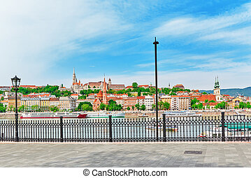 Church of St. Matthias, Fisherman's Bastion, Calvinist Church shore view's of the Danube. Budapest.Hungary.