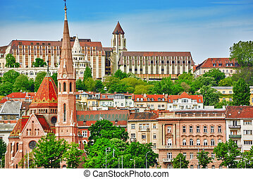 Church of St. Matthias, Fisherman's Bastion,Calvinist Church shore view's of the Danube. Budapest. Hungary