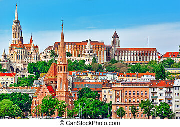 Church of St. Matthias ,Fisherman's Bastion,Calvinist Church shore view's of the Danube .Budapest.Hungary