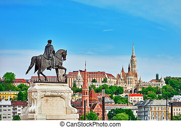 Church of St. Matthias ,Fisherman's Bastion,Calvinist Church with statue Andrassy Gyvla.Hungary