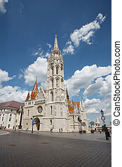 Church of St. Matthias on a sunny summer day. Budapest