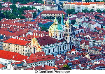 Church of St. Mikulasha from the Petrin tower, Czech Republic.