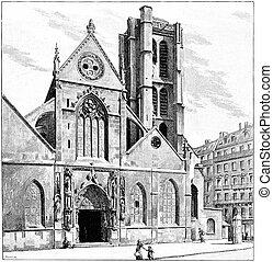 Church of St. Nicolas des Champs, vintage engraving.