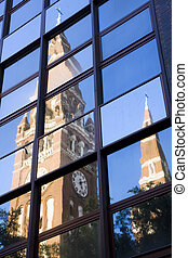 Church of Szeged in the mirror - The tower of Szeged Dom