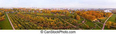Church of the Ascension in Kolomenskoye park in autumn season aerial view, Moscow, Russia
