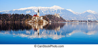 Church of the Assumption on Lake Bled. Bled, Slovenia